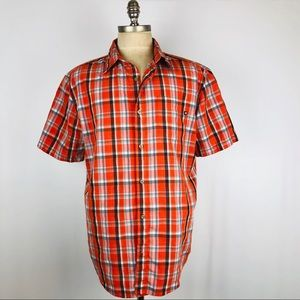 Marmot orange plaid short sleeve outdoor shirt